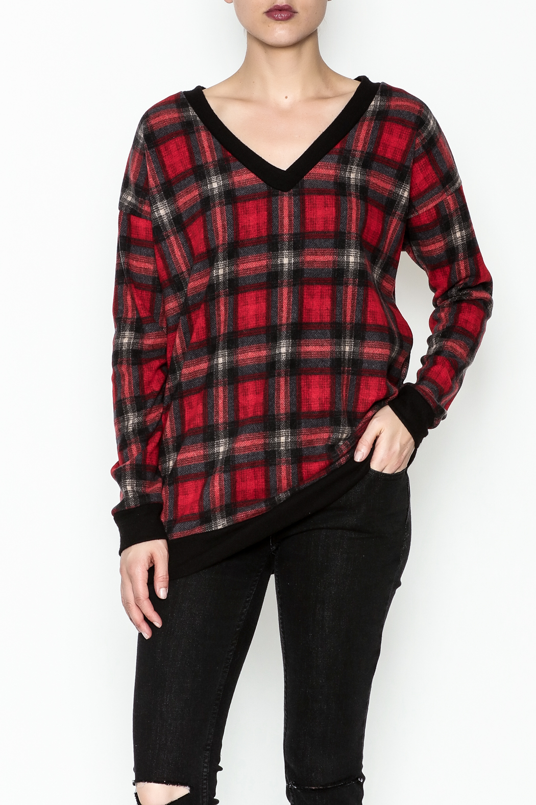 Cherish Plaid Vee Sweatshirt - Main Image