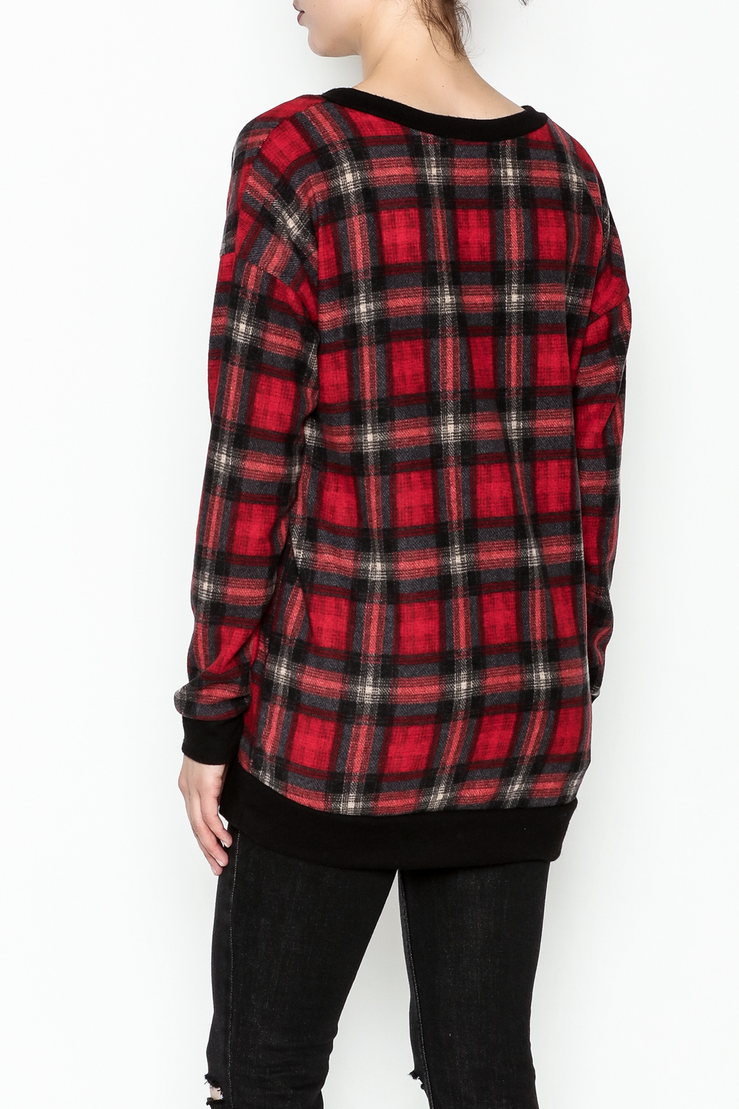 Cherish Plaid Vee Sweatshirt - Back Cropped Image