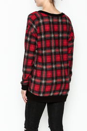 Cherish Plaid Vee Sweatshirt - Back cropped