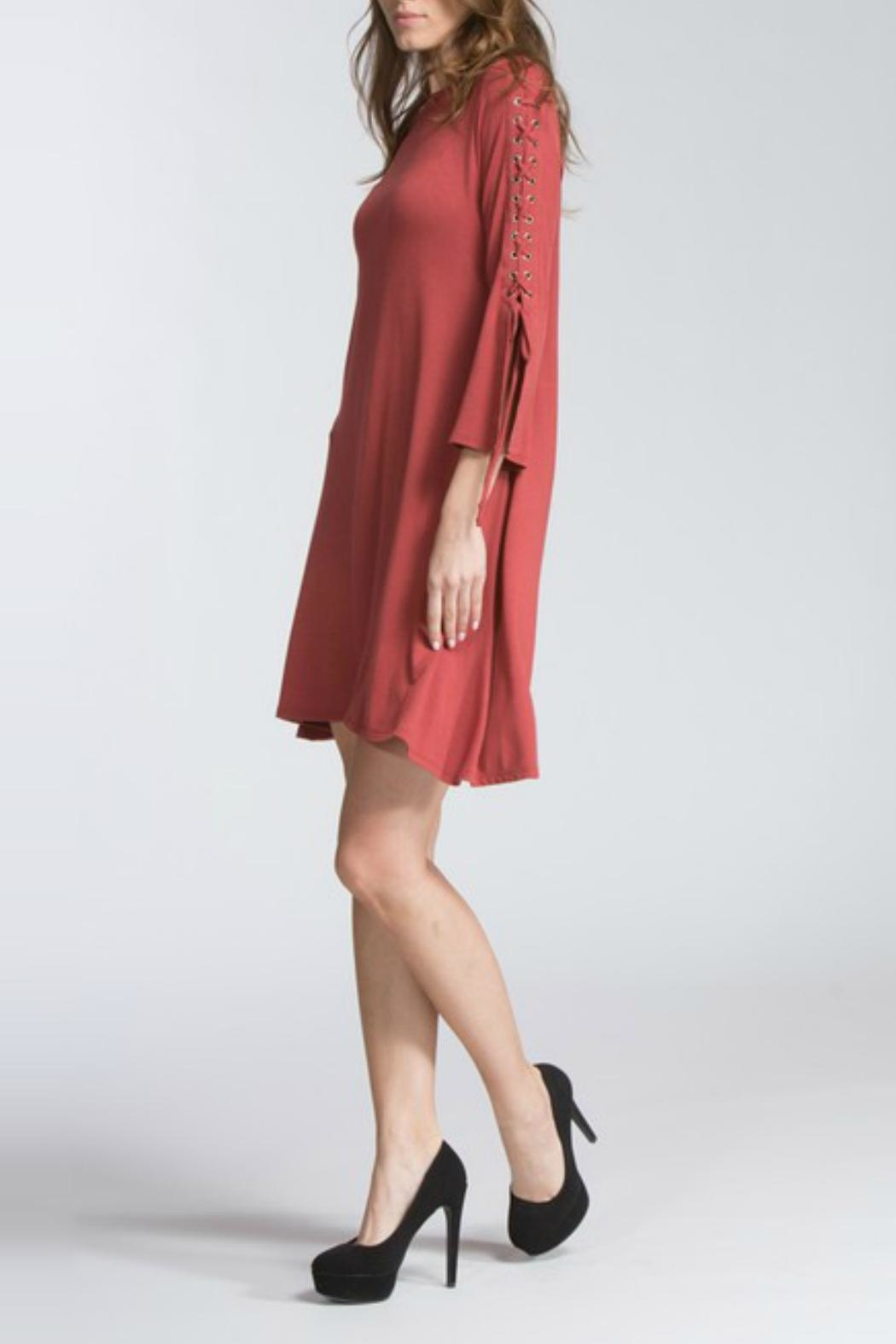 Cherish Rust Lace-Sleeve Dress - Front Full Image