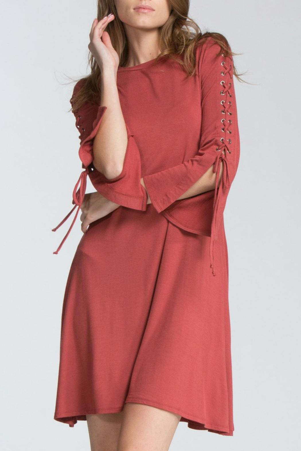 Cherish Rust Lace-Sleeve Dress - Main Image