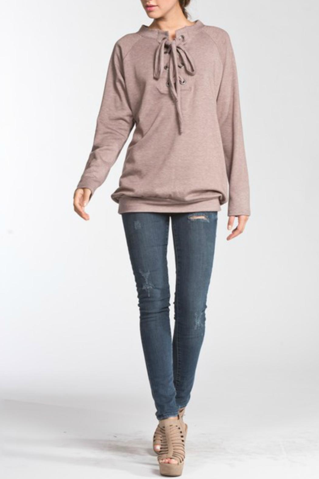 Cherish Soft Lace-Up Pullover - Front Full Image