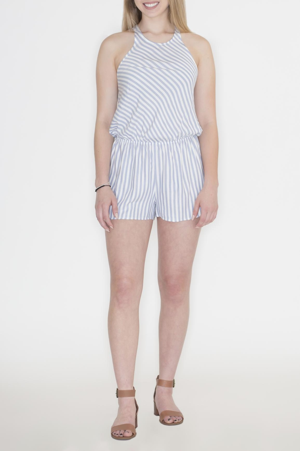 Cherish Striped Crisscross Romper - Back Cropped Image