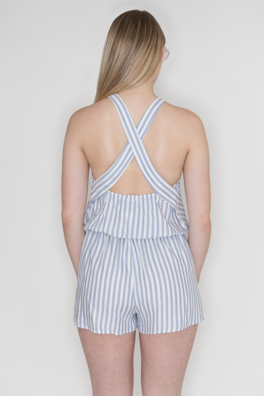 Cherish Striped Crisscross Romper - Side Cropped Image