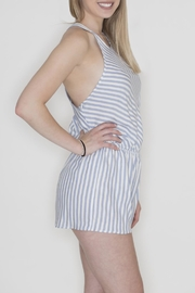 Cherish Striped Crisscross Romper - Front full body