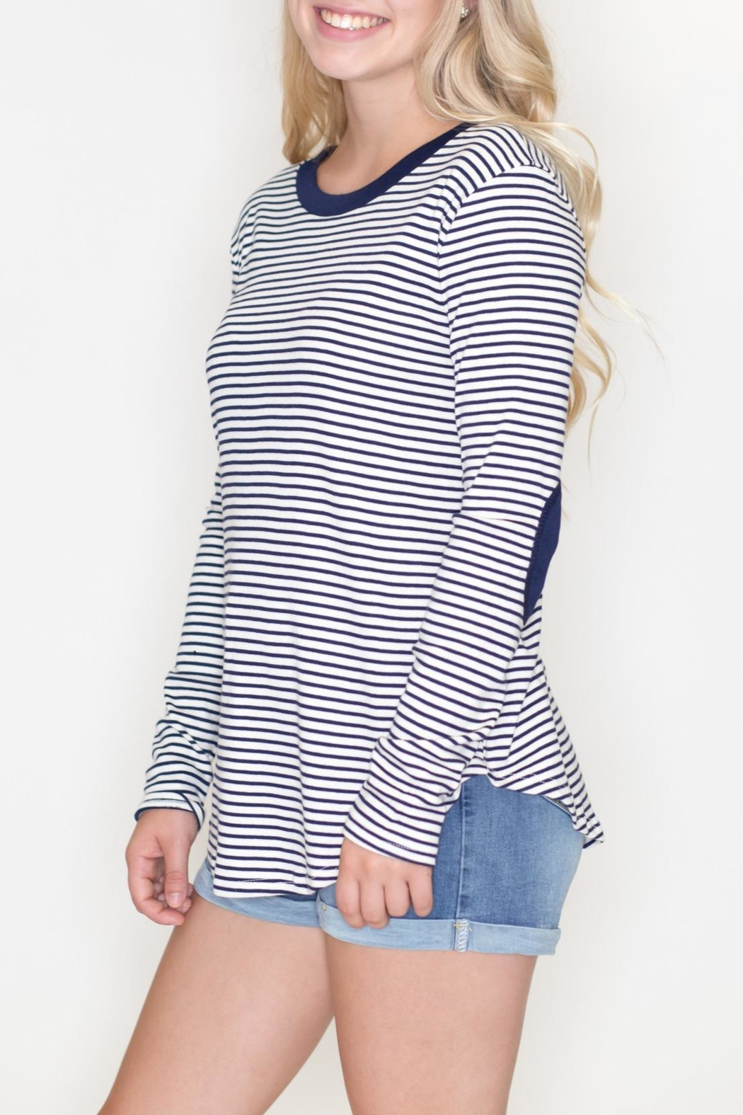 Cherish Striped Patch Top - Front Full Image