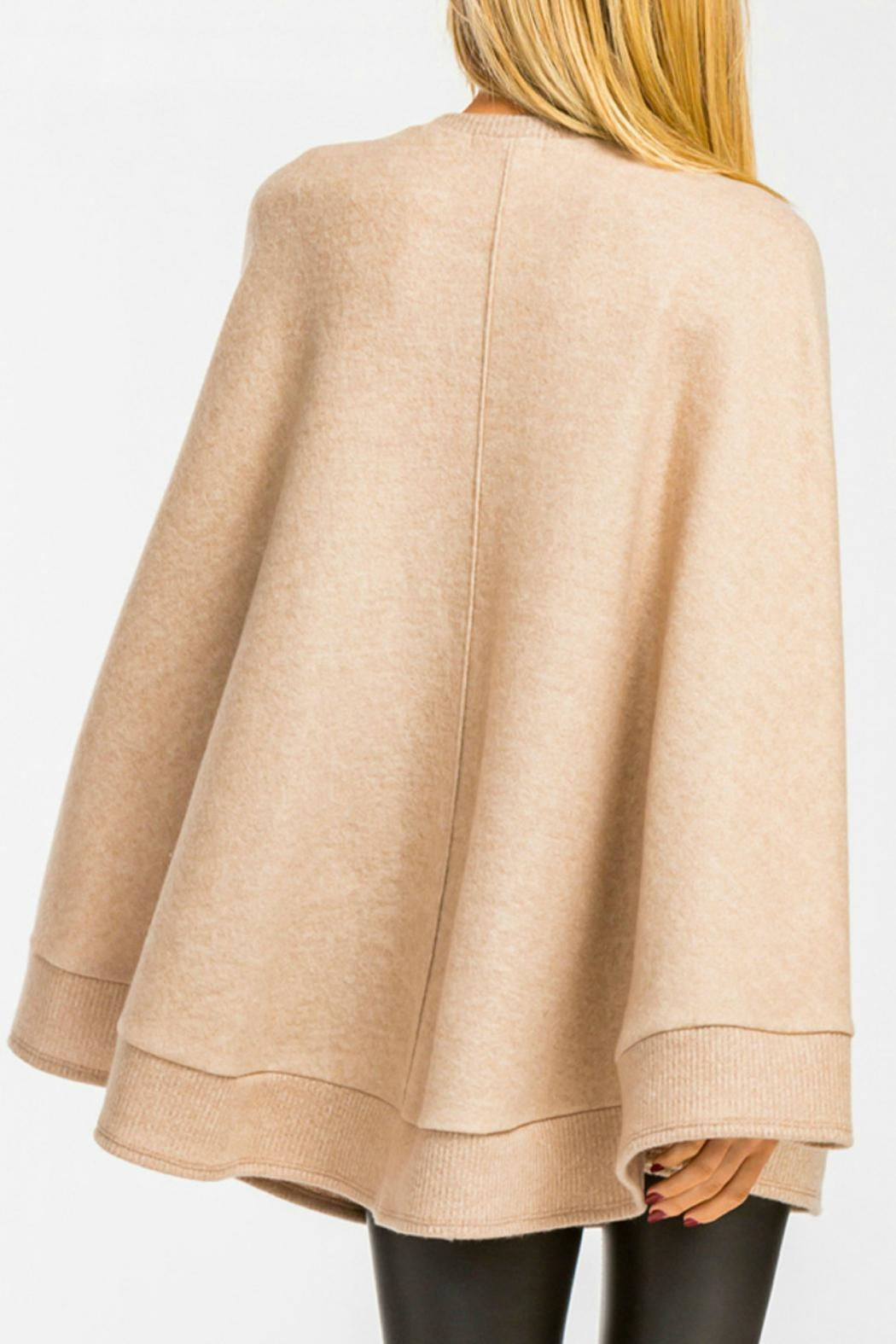 Cherish Taupe Poncho Sweater - Side Cropped Image