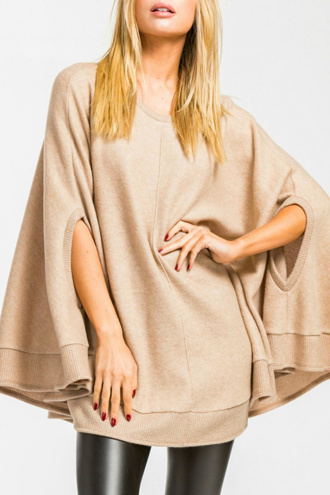 Cherish Taupe Poncho Sweater - Main Image