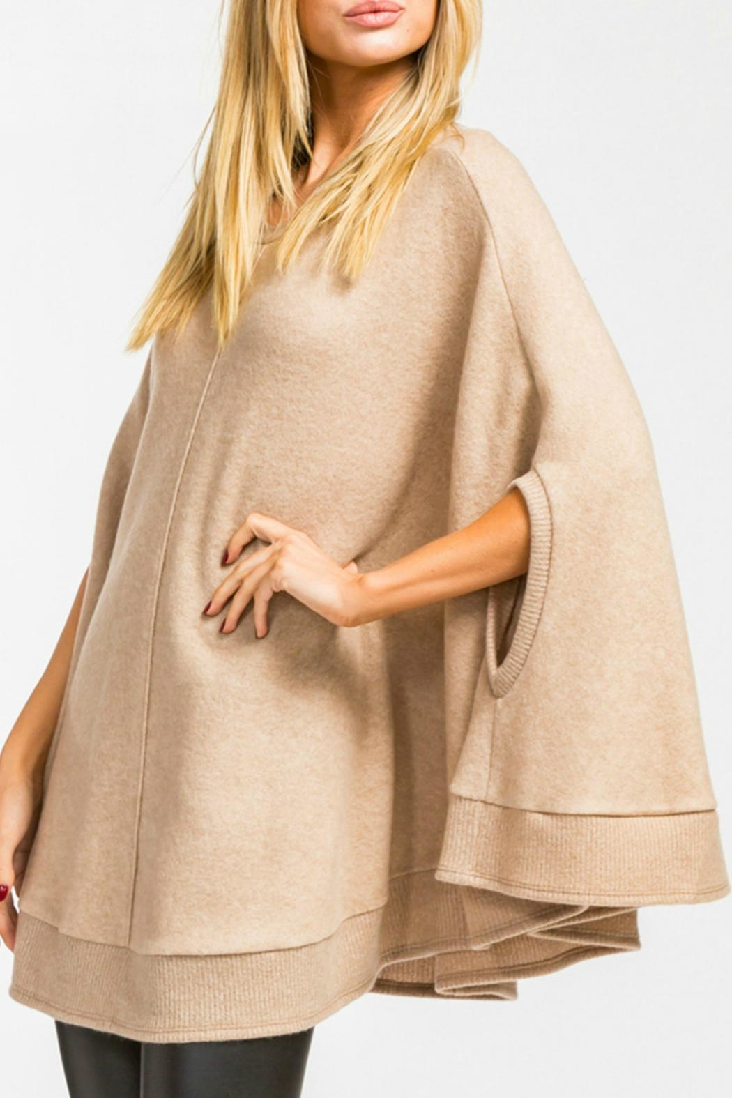 Cherish Taupe Poncho Sweater - Front Full Image