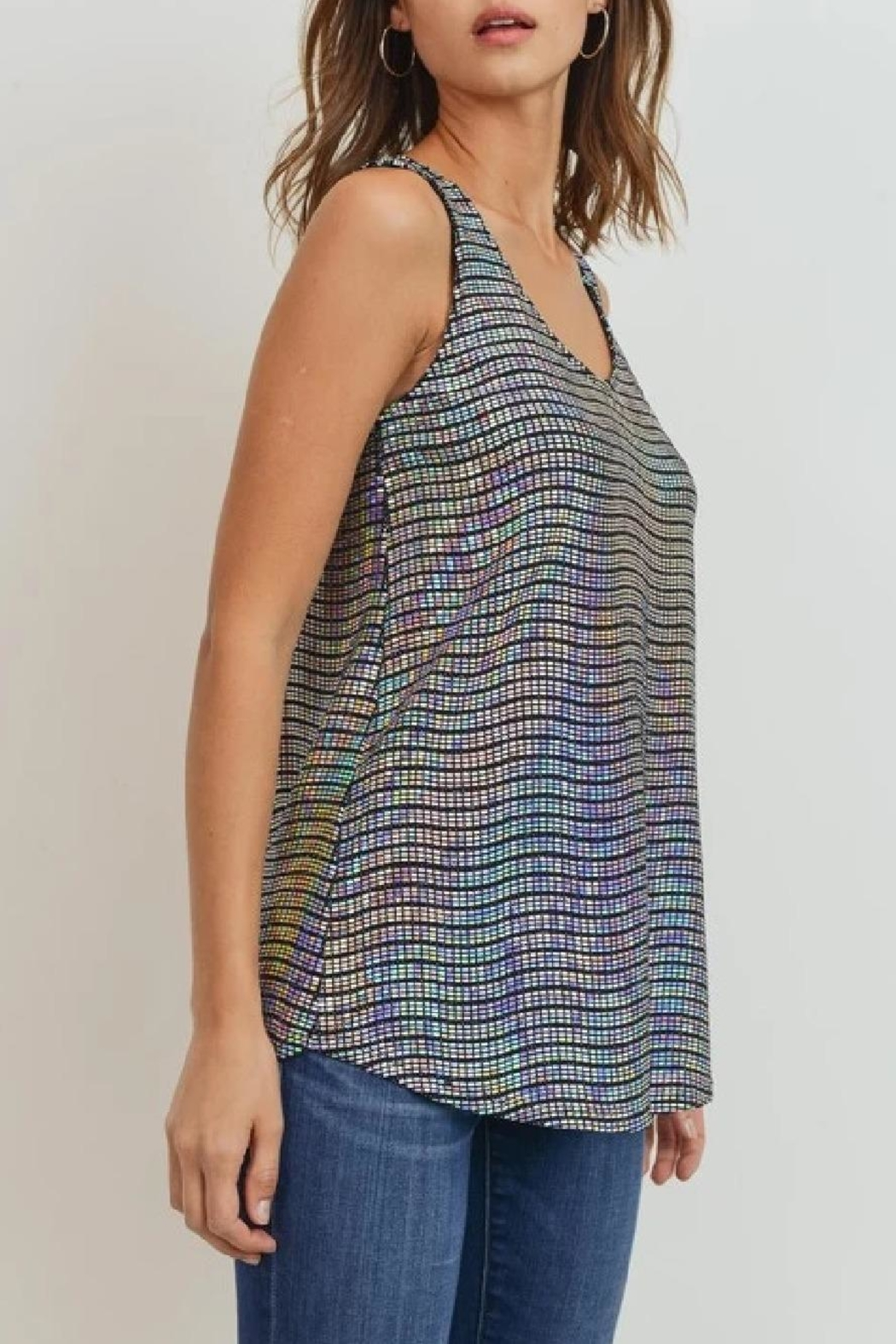 Cherish Wave-Sequins Sleeveless Top - Front Full Image
