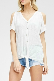 Cherish White Cold-Shoulder Top - Product Mini Image