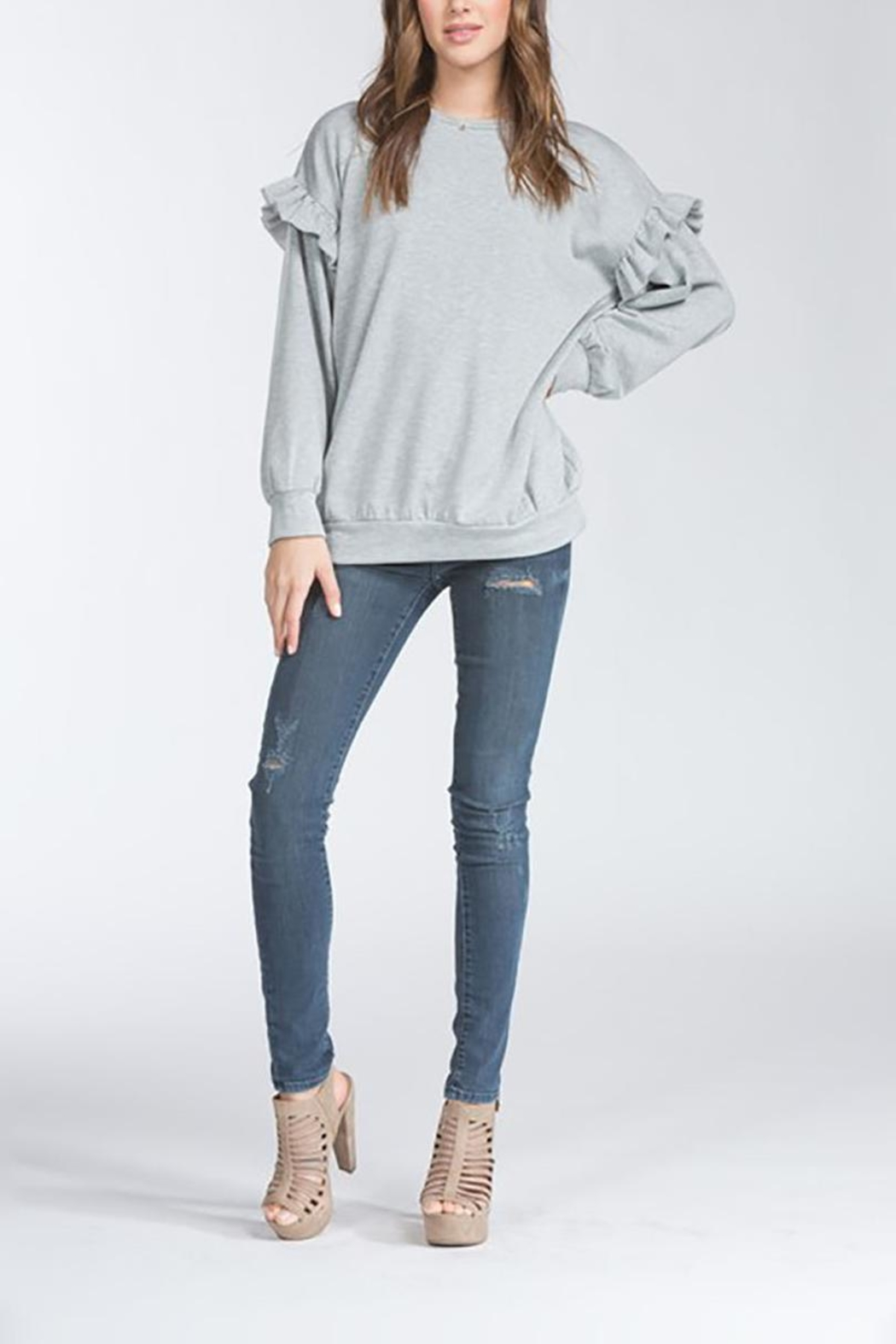 Cherish USA Ruffle Sleeve Sweater - Front Full Image