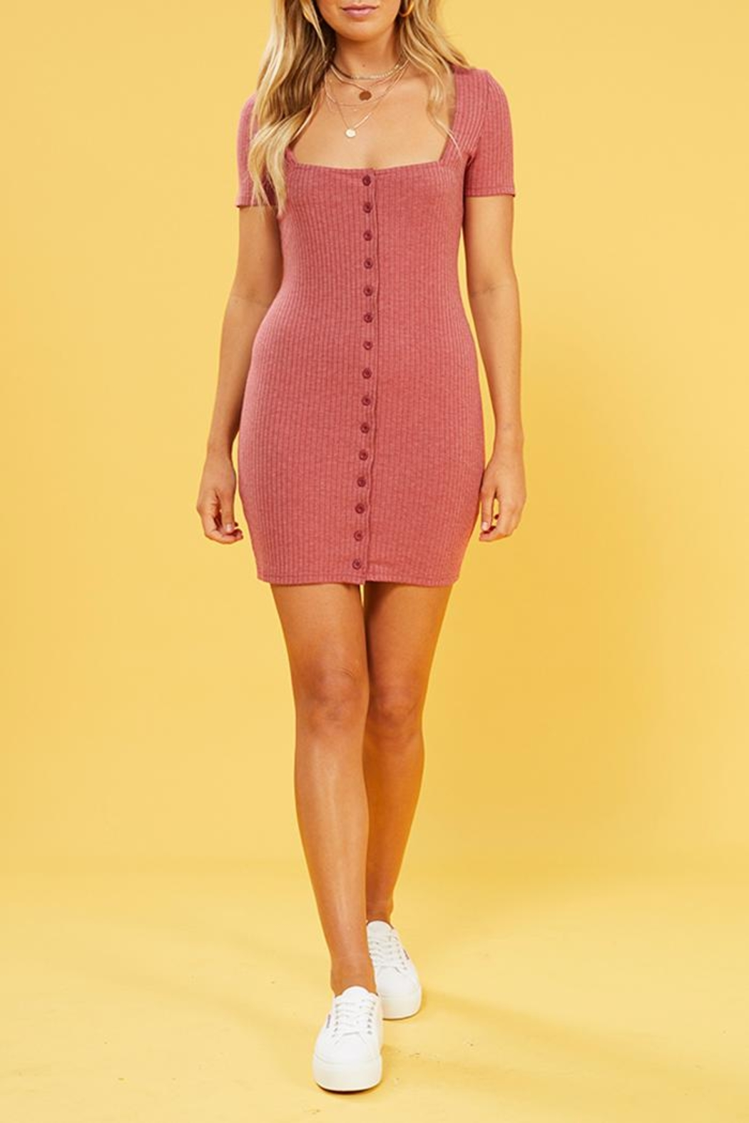 MinkPink Cherry Button Dress - Front Full Image