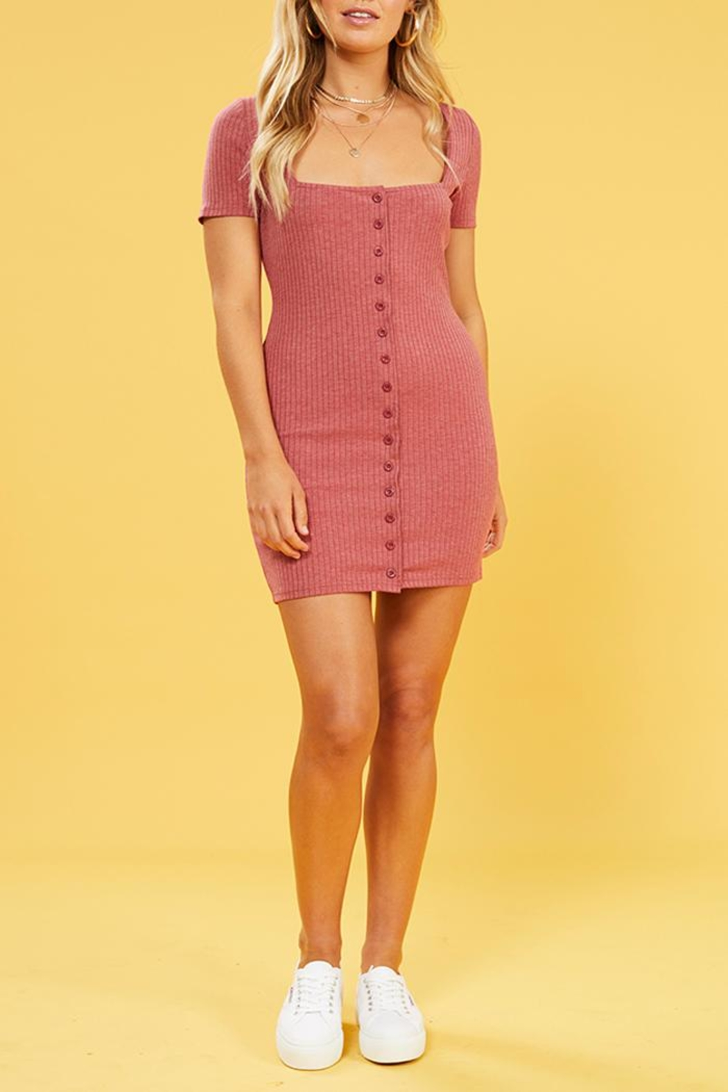 MinkPink Cherry Button Dress - Front Cropped Image