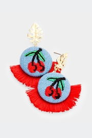 Embellish Cherry Embroidered Earrings - Product Mini Image
