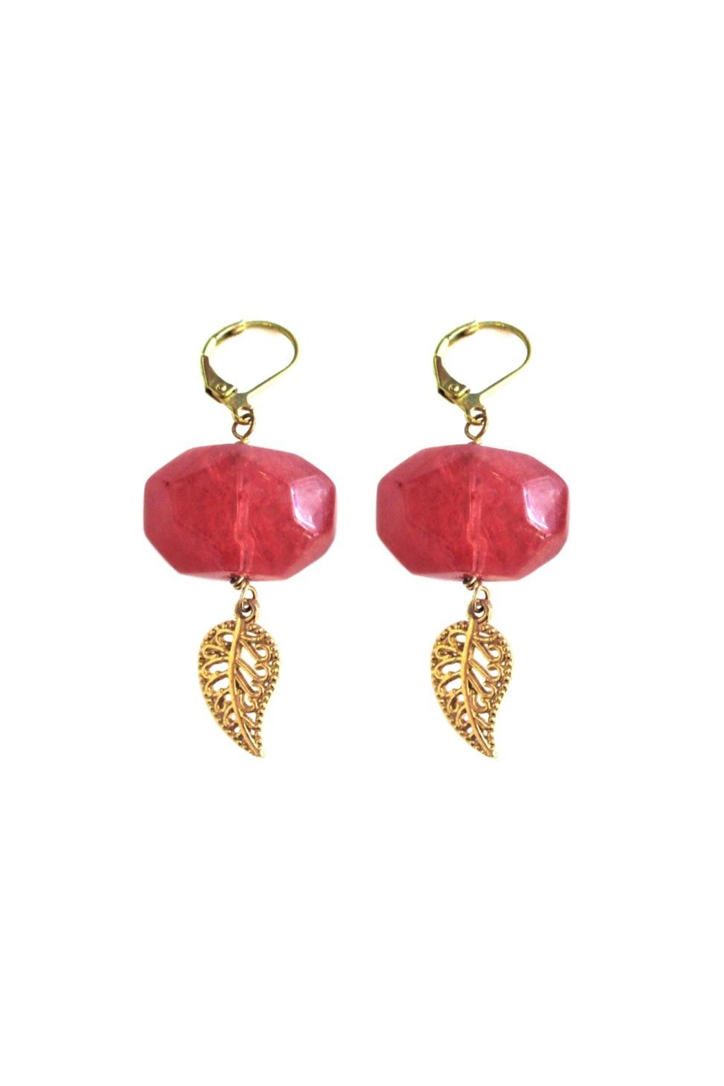 Malia Jewelry Cherry-Quartz Leaf Earrings - Front Cropped Image
