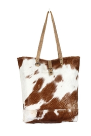 Myra Bags Chestnut Cowhide Tote Bag - Product Mini Image