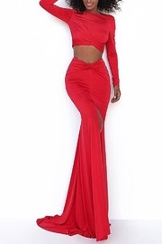 Tarik Ediz Cheval Center Slit Two Piece Gown - Product Mini Image