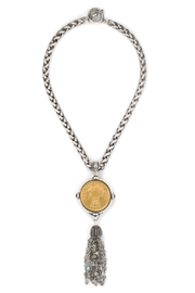 French Kande CHEVAL CHAIN WITH BLES D'OR MEDALLION AND LABRADORITE TASSEL - Product Mini Image