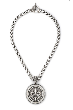 French Kande  CHEVAL CHAIN WITH CENTENNIAL FLEUR STACK MEDALLION AND SWAROVSKI - Product List Image