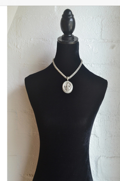 French Kande  CHEVAL CHAIN WITH CENTENNIAL FLEUR STACK MEDALLION AND SWAROVSKI - Alternate List Image