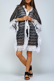 Velzera Chevron Fringe-Hem Open-Cardigan - Product Mini Image