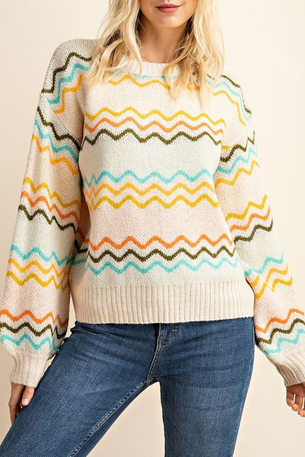 Gilli  Chevron Knit Sweater - Front Cropped Image
