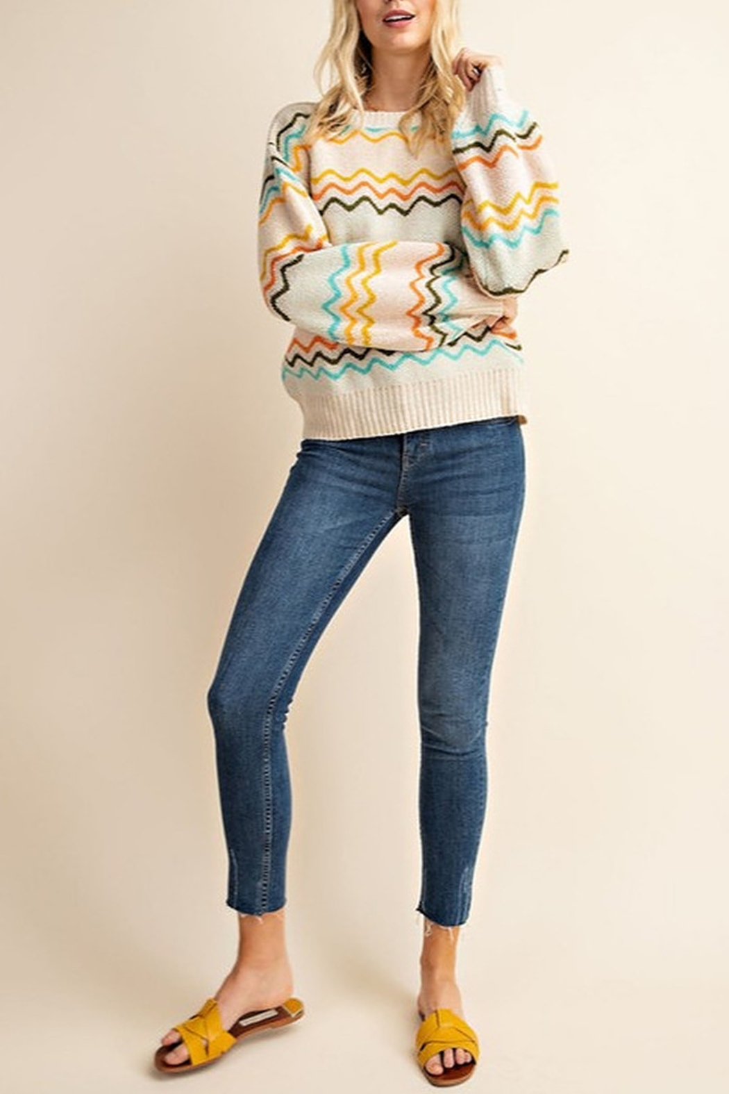 Gilli  Chevron Knit Sweater - Front Full Image