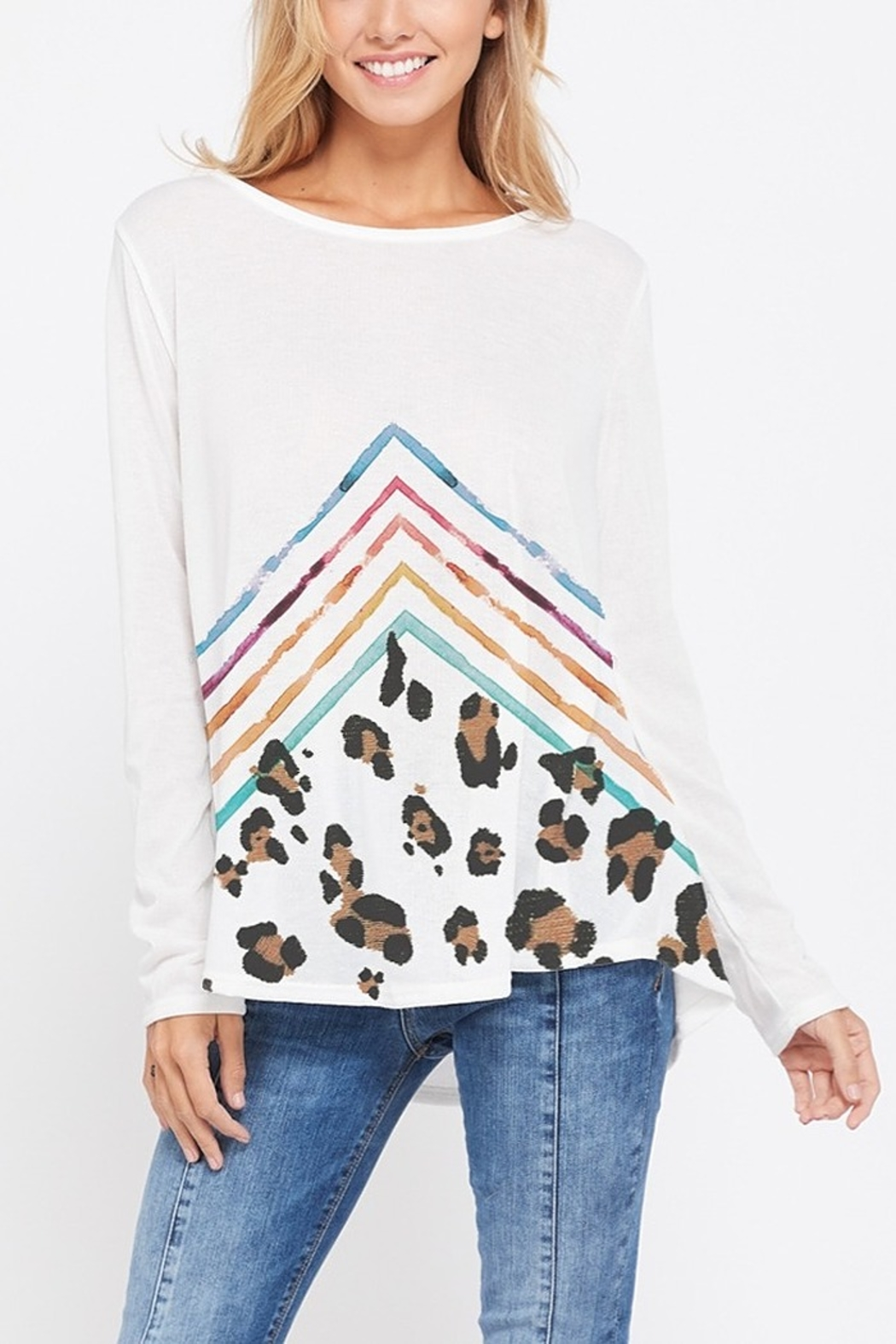 Lyn -Maree's Chevron & Leopard Long Sleeve - Main Image