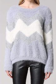 Fate CHEVRON METALIC FUZZY SWEATER - Front cropped