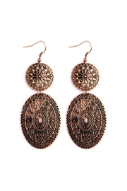 Riah Fashion Chevron-Pattern Engraved Drop-Earrings - Product Mini Image