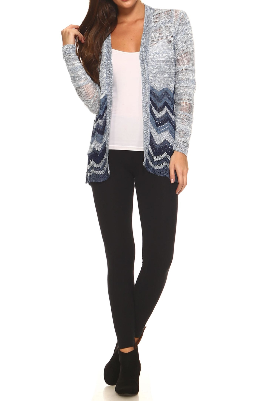 rxb Chevron Print Cardigan - Side Cropped Image
