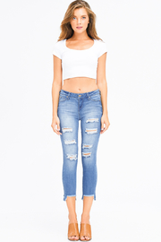 MONTREZ CHEWED HEM CROPPED SKINNY JEANS - Product Mini Image