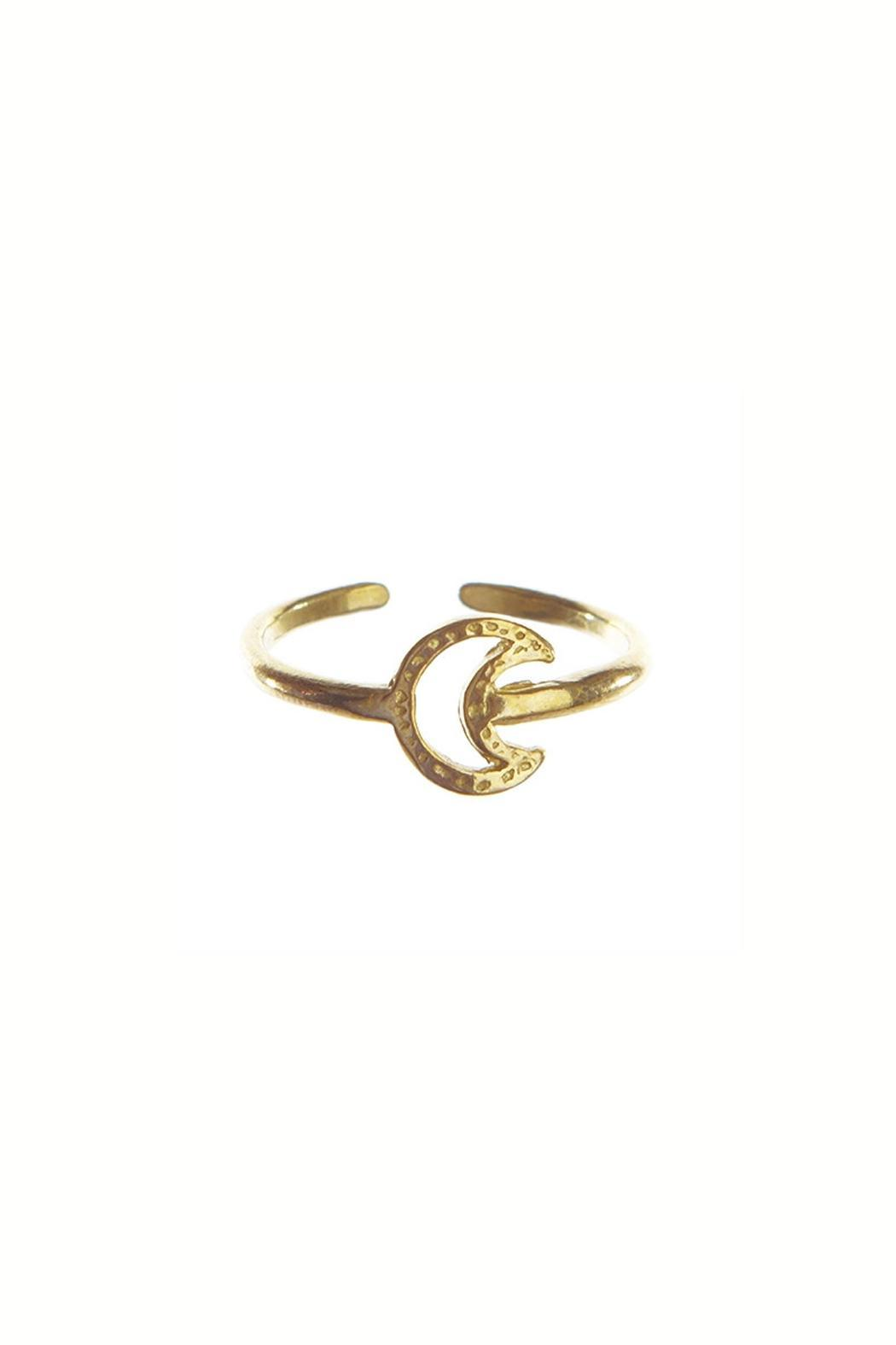Chibi Jewels Brass Crescent Ring - Front Cropped Image