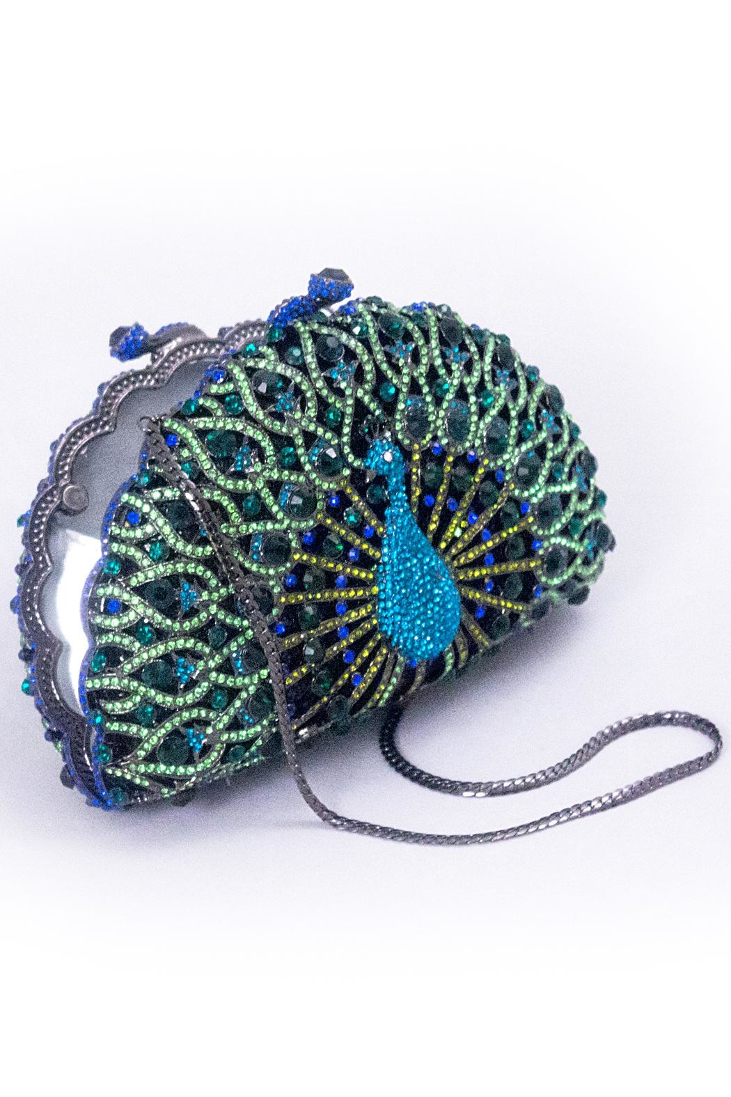 Chic and Shore Things Crystal Peacock Clutch - Front Full Image