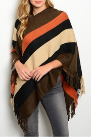 Chic Ruff Block Brown/rust Poncho - Product Mini Image