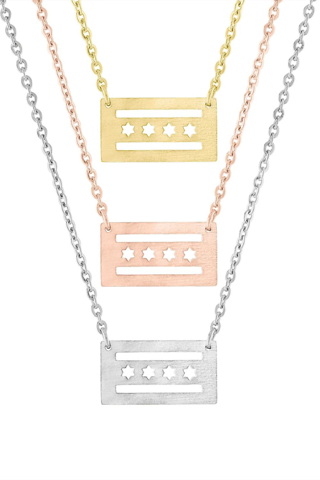 The Colette Collection Chicago Flag Necklace - Front Full Image
