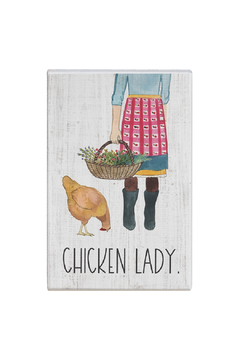 """Shoptiques Product: """"Chicken Lady"""" Wooden Sign"""