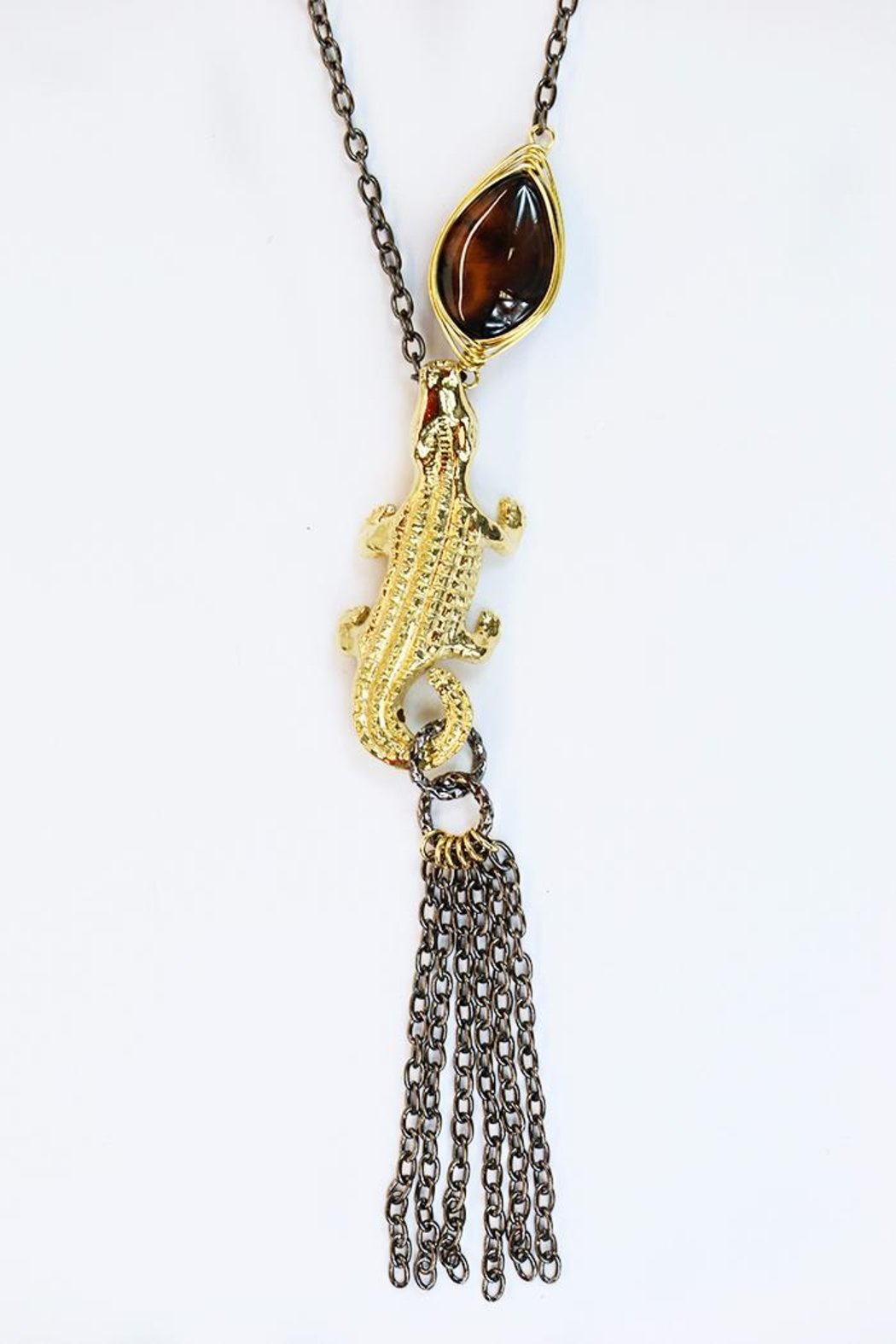 CHICKS MTY Long Crocodile Necklace - Front Full Image