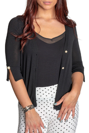 Femme Fatale Chiffon Back Cardigan w Pearl Buttons - Product Mini Image