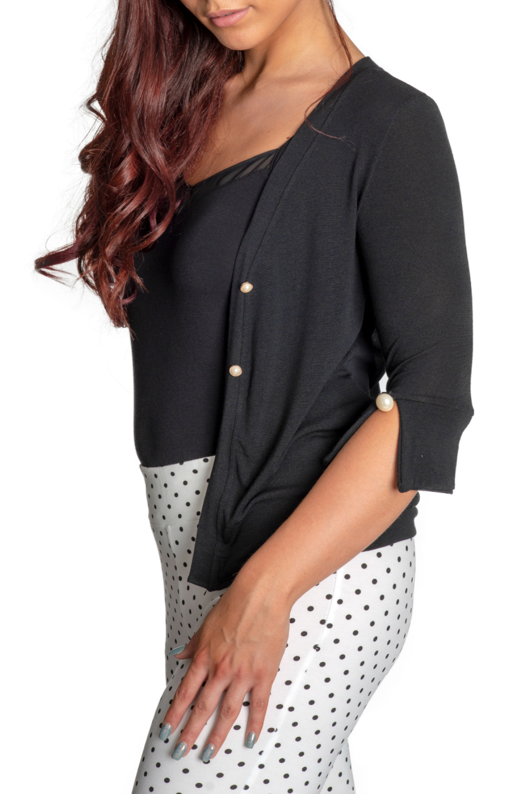 Femme Fatale Chiffon Back Cardigan w Pearl Buttons - Front Full Image