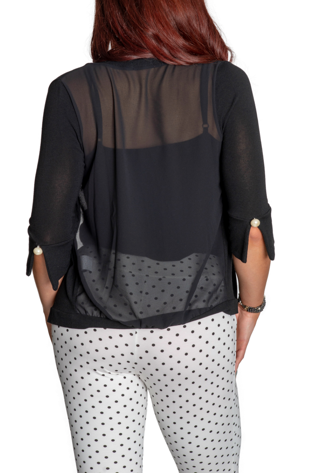 Femme Fatale Chiffon Back Cardigan w Pearl Buttons - Side Cropped Image