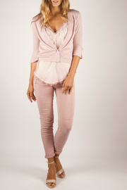 Femme Fatale Chiffon Back Cardigan w Pearl Buttons - Front cropped