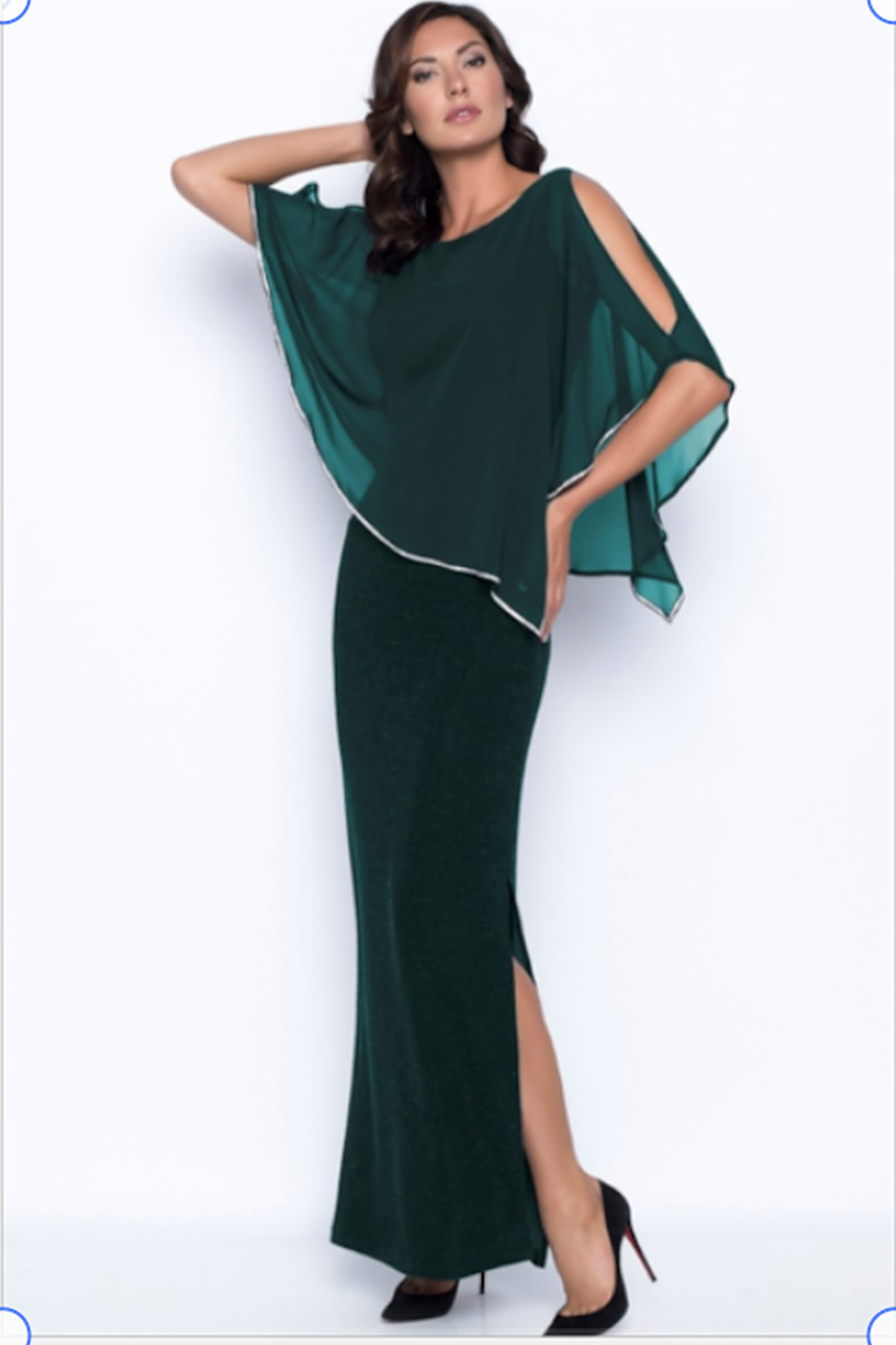Frank Lyman Chiffon Drape Dress in Jade Color - Front Cropped Image
