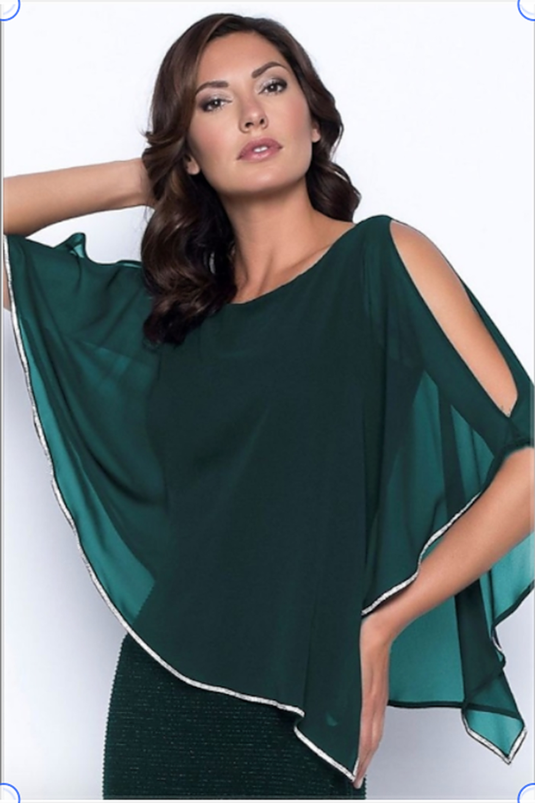 Frank Lyman Chiffon Drape Dress in Jade Color - Front Full Image