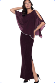 Frank Lyman Chiffon Drape Dress in Merlot Color - Product Mini Image