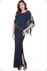 Frank Lyman Chiffon Drape Dress in MidNight - Product Mini Image