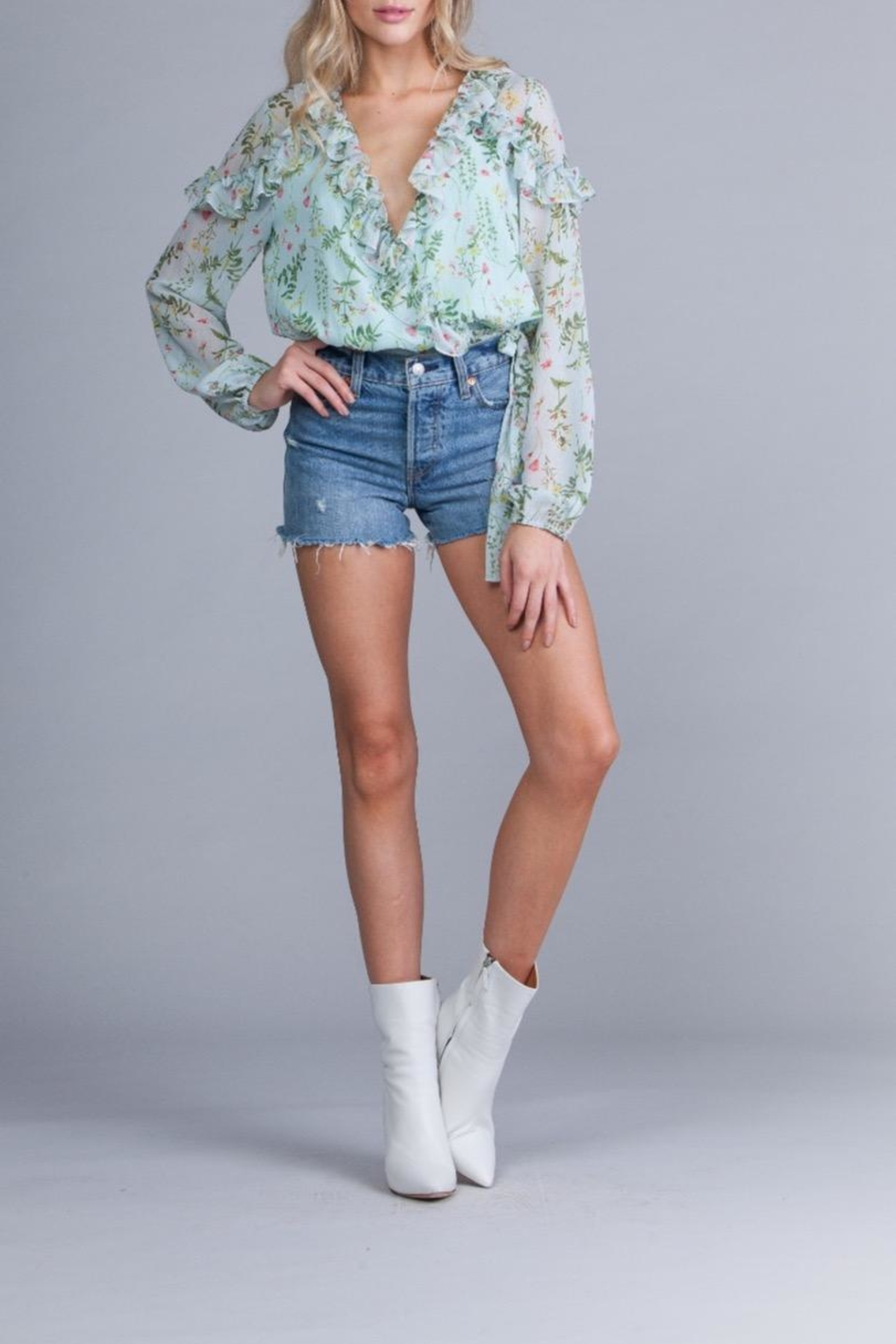 Q&A Chiffon Floral Wrap-Top - Front Cropped Image