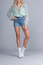 Q&A Chiffon Floral Wrap-Top - Front cropped