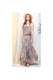 Ninexis Chiffon Flowy  Maxi Dress in a soft Peachy Gray Abstract - Product Mini Image